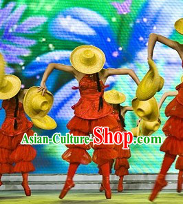 Traditional Modern Dance Costumes and Hat Complete Set for Women