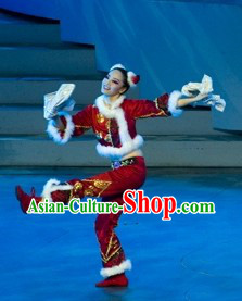 Traditional Chinese Lunar New Year Dance Costumes and Headwear Complete Set for Women