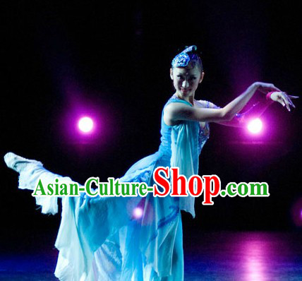 Traditional Chinese Classical Solo Dance Costumes and Headwear Complete Set for Women