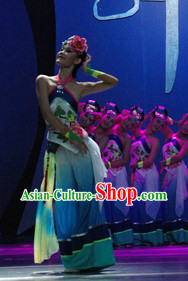 Traditional Chinese Dance Costume and Headwear Complete Set for Women
