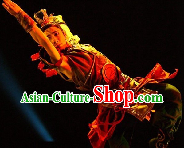 Traditional Chinese Drum Armor Dance Costume and Headwear Complete Set for Men