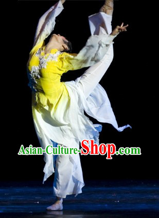 Traditional Chinese Magnolia Classic Dance Costume and Headwear Complete Set for Men