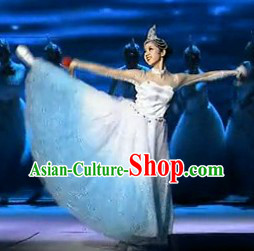 Spring Music Colour Transition Dance Costumes and Headpiece for Women