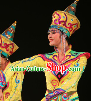Festival Celebration Mongolian Dance Costumes and Hat for Women