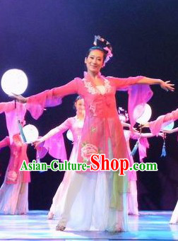 Chinese Classical Dancing Costume and Headgear for Women