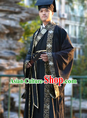 Black Traditional Chinese Outer Robe and Inner Suit and Hat Complete Set for Men