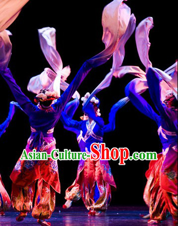 Long Sleeves Classical Chinese Dance Costumes and Hair Accessories Complete Set for Men