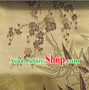 Gold Chinese Bamboo and Cherry Blossom Brocade Fabric