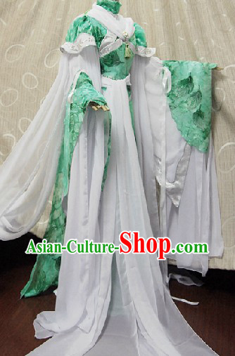 Ancient Chinese Green and White Fairy Costumes Complete Set for Women