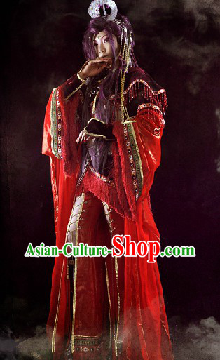 Ancient Chinese Red Swordswoman Cosplay Costumes Complete Set for Women
