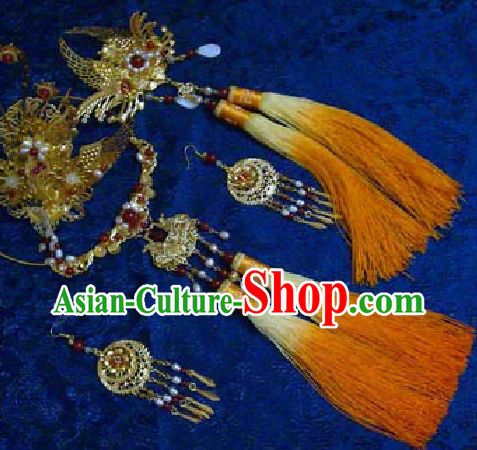 Ancient Chinese Phoenix Wedding Headwears and Necklace for Brides