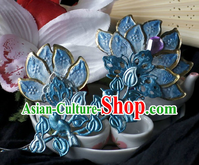 Ancient Chinese Handmade Forehead Blue Flower Hair Accessory