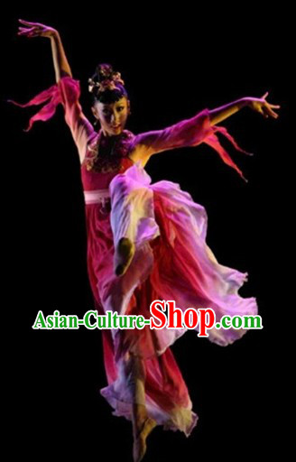 Chinese Classical Stage Performance Dancing Costumes and Headpieces for Womn