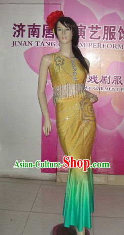 Traditional Chinese Fan Dancing Costumes for Women