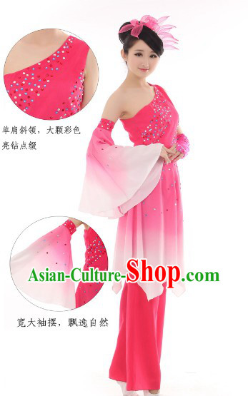 Traditional Chinese Pink Fan Dance Costume for Women