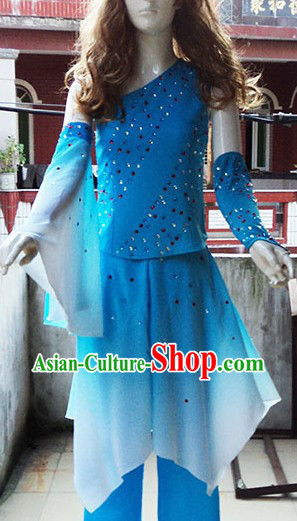 Traditional Chinese Blue Fan Dance Costumes for Women