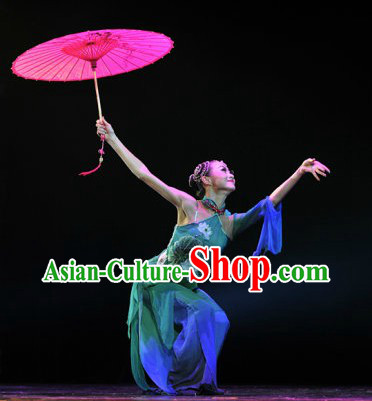 Classicial Umbrella Dance Costumes and Headpieces for Women