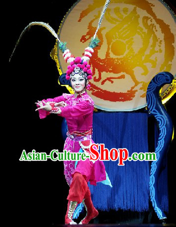 Beijing Opera Style Stage Performance Heroine Costumes and Headwear Complete Set for Women