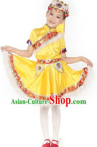 Traditional Chinese Mongolian Stage Performance Costumes for Kids