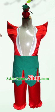 Stage Performance Gourd Doll Costume and Headwear for Men