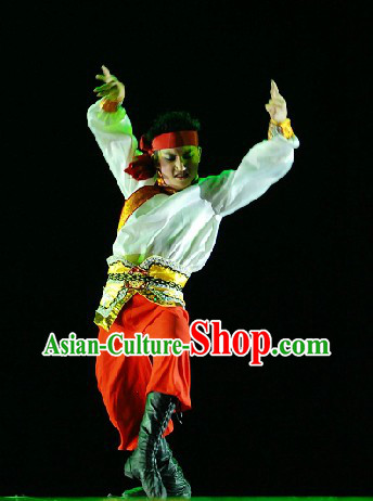 Mongolian Ethnic Blouse and Pants Clothing Complete Set for Men