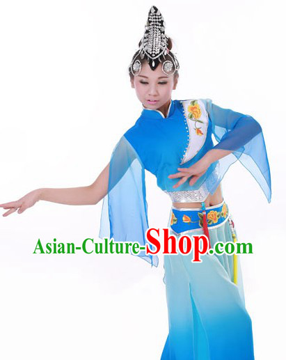 Classical Fan Dance Costumes and Headwear for Women