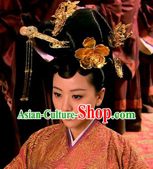 Ancient Chinese Imperial Palace Royal Empress Hair Accessories and Wig Complete Set