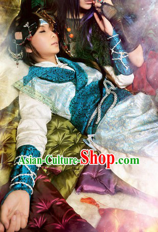 Blue Ancient Chinese Swordman Costumes Complete Set for Men