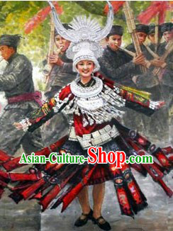 China Miao Formal Dressing Costume and Hat for Women