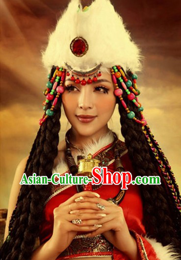 Traditional Chinese Tibetan Clothing Accessories and Headdress Complete Set