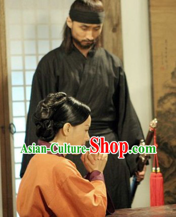 Ancient Korean Cavalier Black Costumes for Men