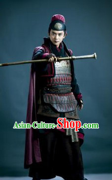 Han Dynasty General Armor Clothes and Hat Complete Set