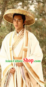 The Legend and The Hero Ancient Wise Men Jiang Ziya Costumes and Headwear Complete Set