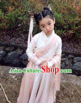 Ancient Chinese Authenic Hanfu Clothing and Headwear for Children