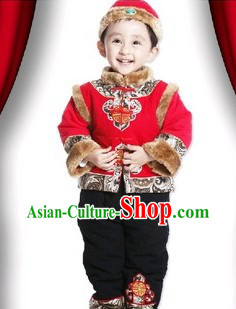 Infant Size Red Chinese Dress and Pants Set