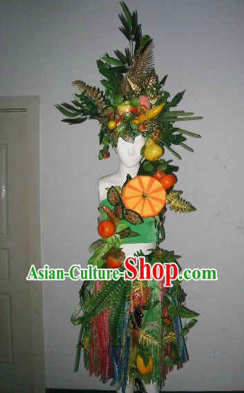 Traditional Chinese Fruit King Dance Costumes Complete Set