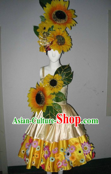 Sunflower Stage Performance Model Costume and Headdress Complete Set