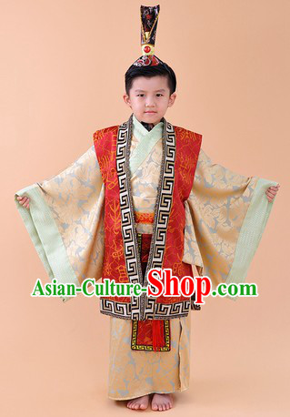 Ancient Chinese Emperor Costume and Crown Complete Set for Children