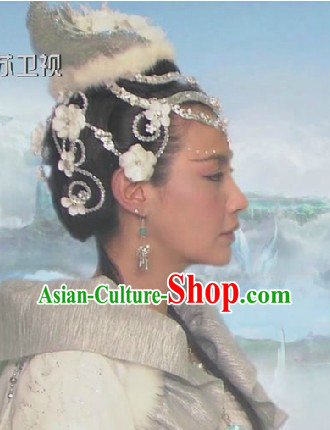 Traditional Ancient Chinese Chang'e Fairy Headdress and Wig Set