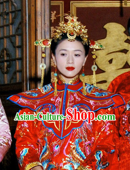 Traditional Chinese Wedding Bridal Headdress Phoenix Coronet Set