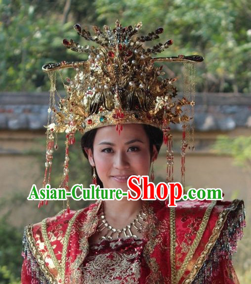 Traditional Chinese Princess Phoenix Hat Earrings Necklace Complete Set