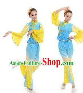 Traditional Chinese Stage Performance Fan Dance Costumes Complete Set