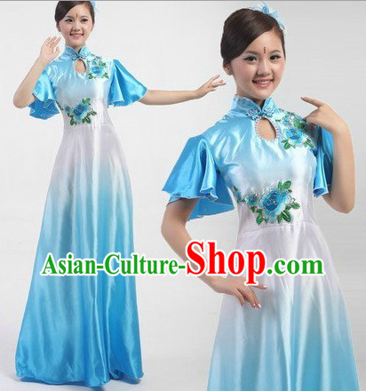 Traditional Chinese Stage Performance Fan Dancing Costumes Complete Set
