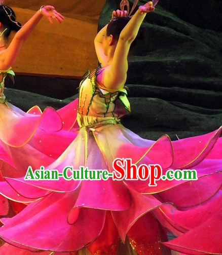 Chinese Lotus Dancing Costumes Complete Set for Women