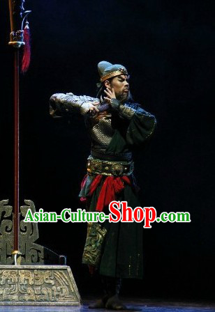 Chinese Guan Gong Costumes and Hat Complete Set for Men