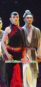 China Classical Silk Dance Costumes Complete Set for Women
