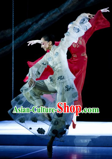 China Classical Silk Dancing Costumes Complete Set for Women