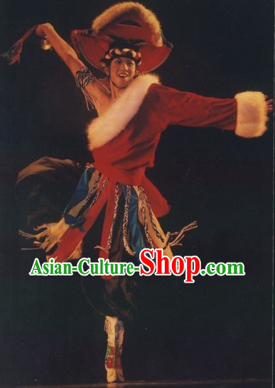 China Classical Tibetan Dancing Costumes Complete Set for Men