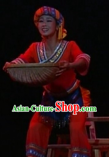 Chinese Miao Ethnic Group Dance Costumes and Headwear Complete Set for Women