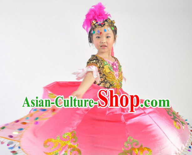 Chinese Xinjiang Festival Celebration Dance Costumes and Headdress Complete Set for Kids